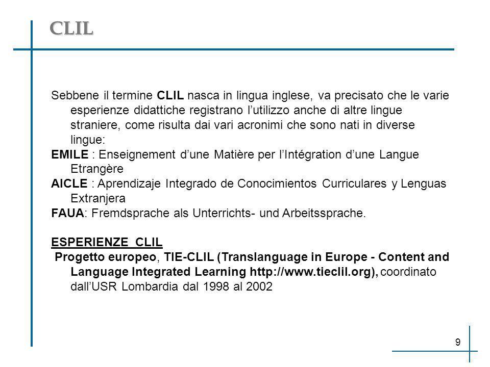 CLIL Sebbene il termine CLIL nasca in lingua inglese, va precisato che le varie esperienze didattiche registrano l'utilizzo anche di altre lingue stra