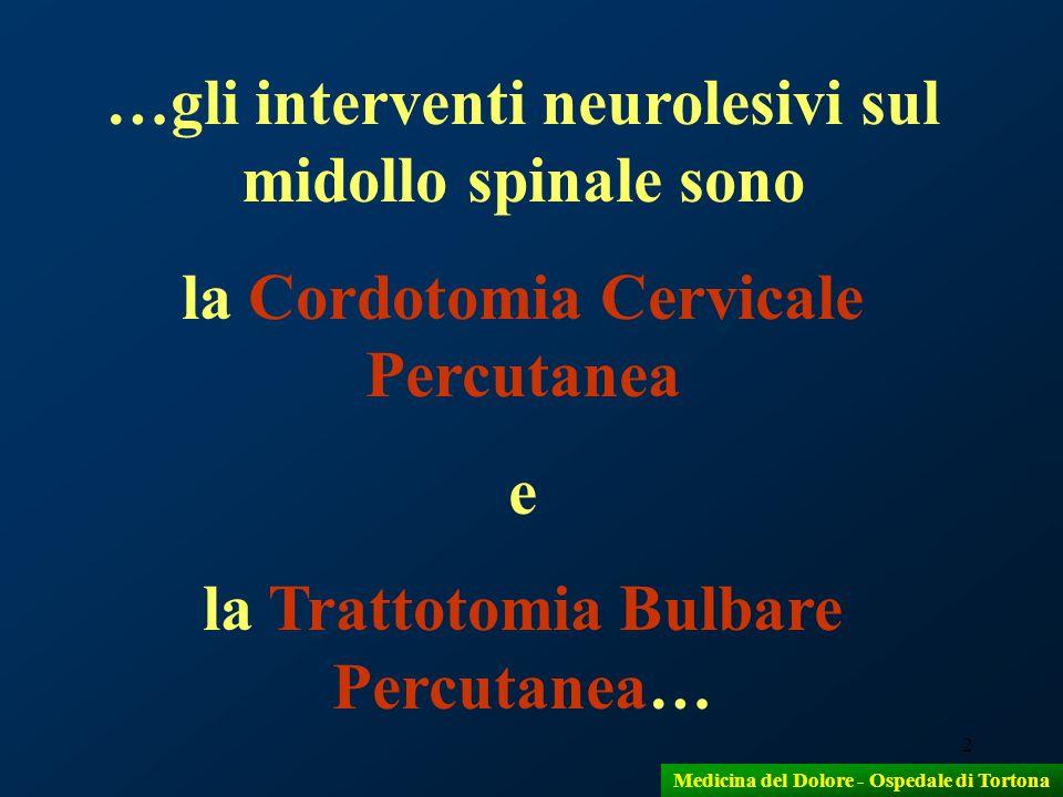 3 …questi interventi riguardano il dolore di origine vertebrale nei pazienti neoplastici… …perché… …in essi il dolore è generalmente nocicettivo… Medicina del Dolore - Ospedale di Tortona