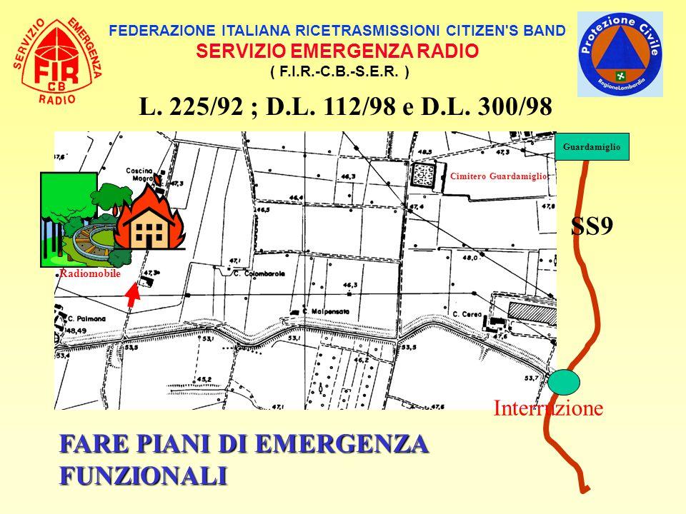 FEDERAZIONE ITALIANA RICETRASMISSIONI CITIZEN'S BAND SERVIZIO EMERGENZA RADIO ( F.I.R.-C.B.-S.E.R. ) L. 225/92 ; D.L. 112/98 e D.L. 300/98 Radiomobile