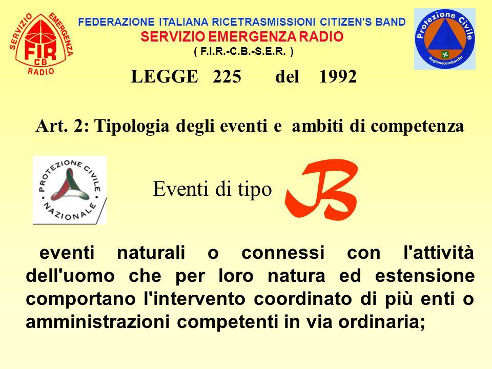 FEDERAZIONE ITALIANA RICETRASMISSIONI CITIZEN'S BAND SERVIZIO EMERGENZA RADIO ( F.I.R.-C.B.-S.E.R. ) LEGGE 225 del 1992 Art. 2: Tipologia degli eventi