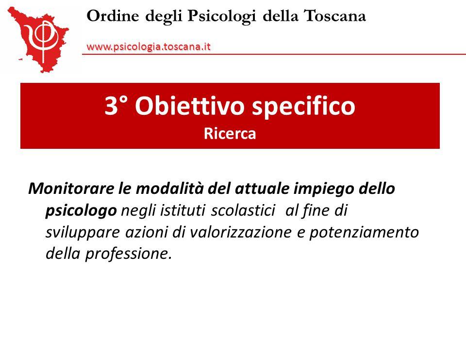 Ordine degli Psicologi della Toscanawww.psicologia.toscana.it 3° Obiettivo specifico Ricerca Monitorare le modalità del attuale impiego dello psicolog