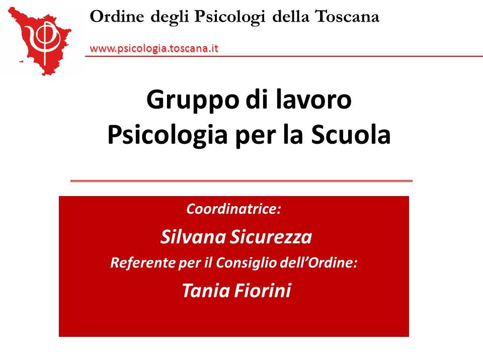 Gruppo di lavoro Psicologia per la Scuola Coordinatrice: Silvana Sicurezza Referente per il Consiglio dell'Ordine: Tania Fiorini Ordine degli Psicolog