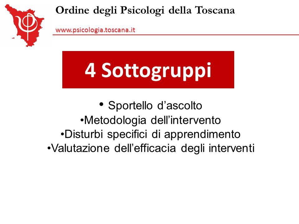 4 Sottogruppi Ordine degli Psicologi della Toscanawww.psicologia.toscana.it Sportello d'ascolto Metodologia dell'intervento Disturbi specifici di appr