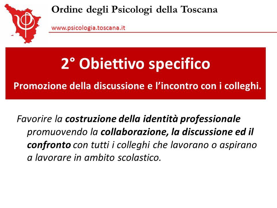 Ordine degli Psicologi della Toscanawww.psicologia.toscana.it 2° Obiettivo specifico Promozione della discussione e l'incontro con i colleghi. Favorir