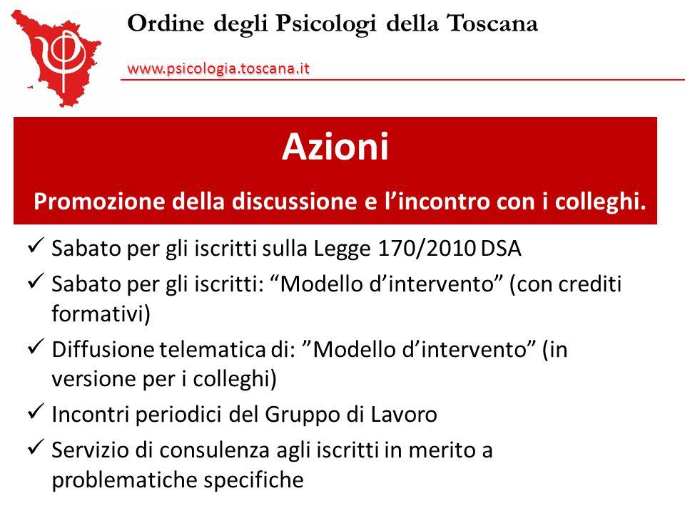 Ordine degli Psicologi della Toscanawww.psicologia.toscana.it Azioni Promozione della discussione e l'incontro con i colleghi. Sabato per gli iscritti