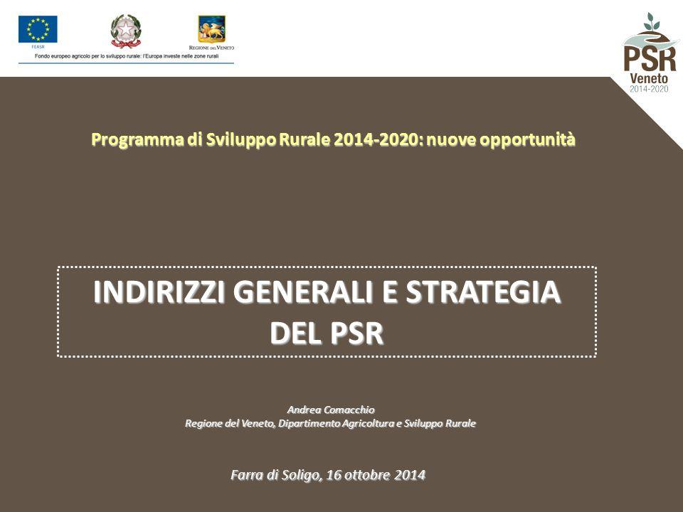 Programma di Sviluppo Rurale 2014-2020: nuove opportunità INDIRIZZI GENERALI E STRATEGIA DEL PSR Andrea Comacchio Regione del Veneto, Dipartimento Agr