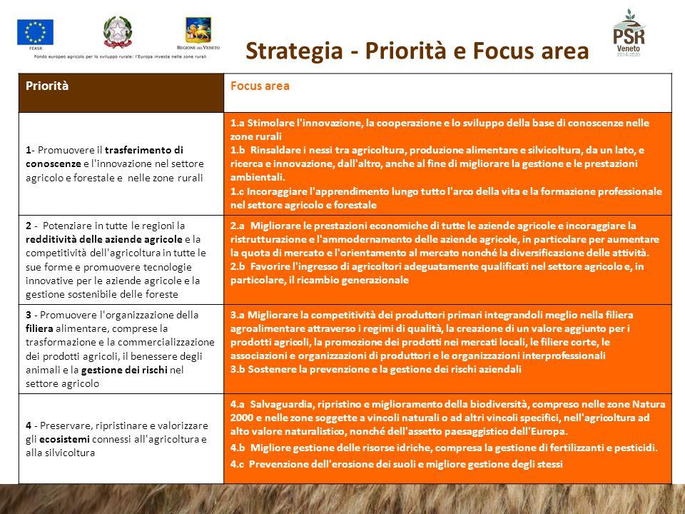 Strategia - Priorità e Focus area Priorità Focus area 1- Promuovere il trasferimento di conoscenze e l'innovazione nel settore agricolo e forestale e
