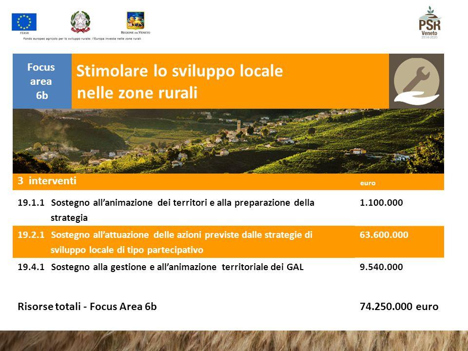 Stimolare lo sviluppo locale nelle zone rurali Focus area 6b euro 3 interventi euro 19.1.1 Sostegno all'animazione dei territori e alla preparazione d