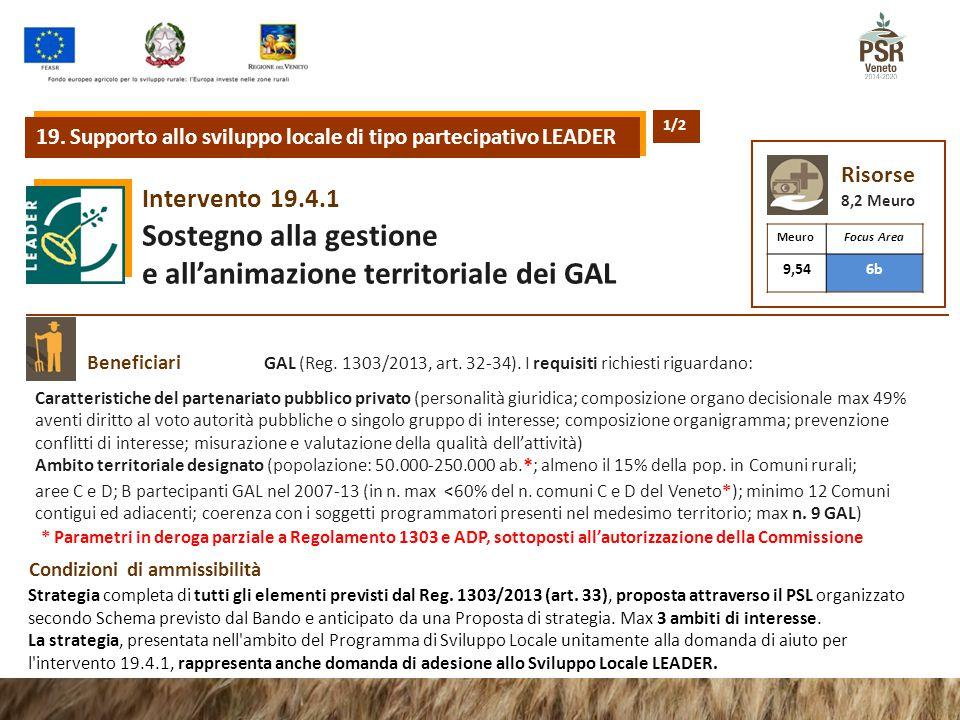 19.4.1Intervento Sostegno alla gestione e all'animazione territoriale dei GAL Beneficiari Condizioni di ammissibilità Caratteristiche del partenariato