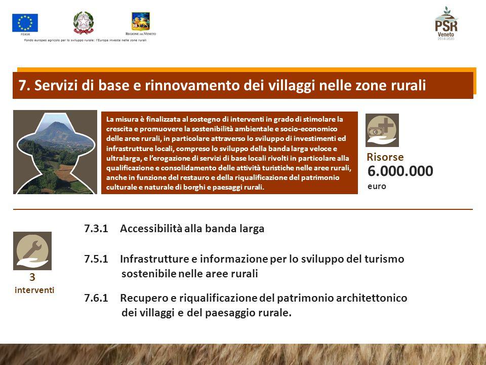 3 interventi 7.3.1 Accessibilità alla banda larga 7.5.1 Infrastrutture e informazione per lo sviluppo del turismo sostenibile nelle aree rurali La mis