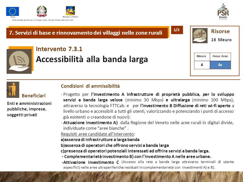 7.3.1Intervento Accessibilità alla banda larga 7. Servizi di base e rinnovamento dei villaggi nelle zone rurali Risorse 16 Meuro Beneficiari Enti e am