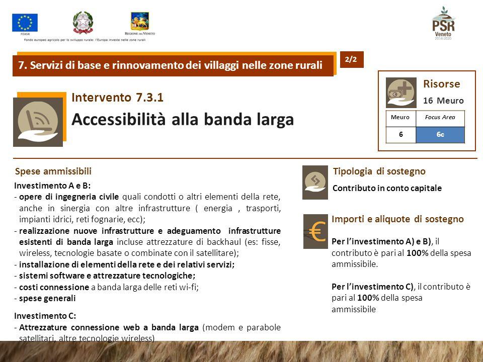 7.3.1Intervento Accessibilità alla banda larga 7. Servizi di base e rinnovamento dei villaggi nelle zone rurali Risorse 16 Meuro Tipologia di sostegno