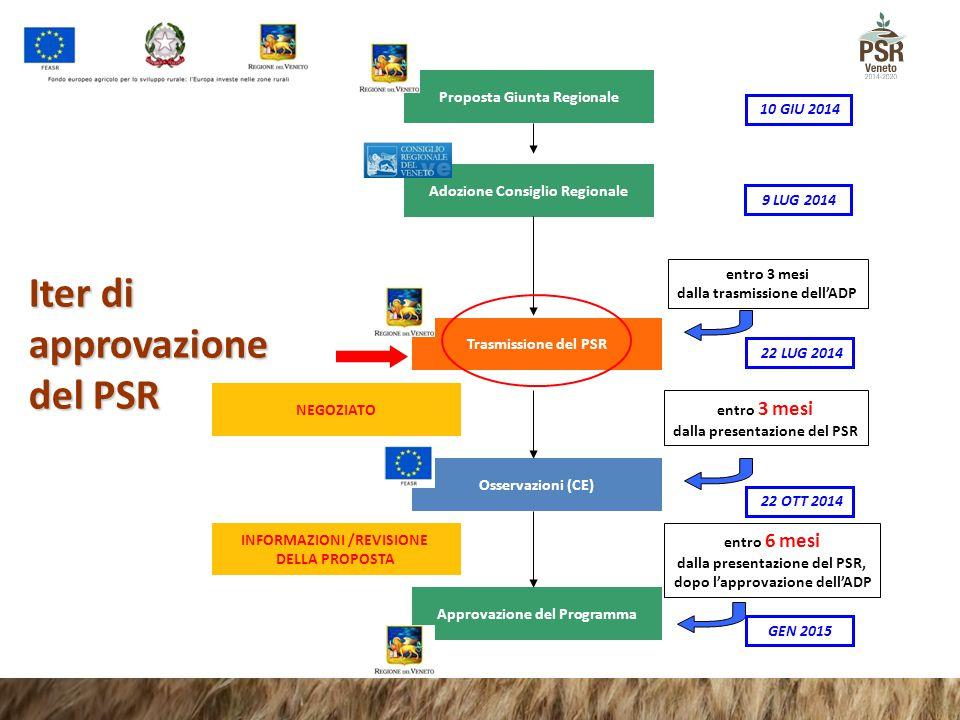 Adozione Consiglio Regionale Iter di approvazione del PSR entro 3 mesi dalla trasmissione dell'ADP entro 3 mesi dalla presentazione del PSR entro 6 me