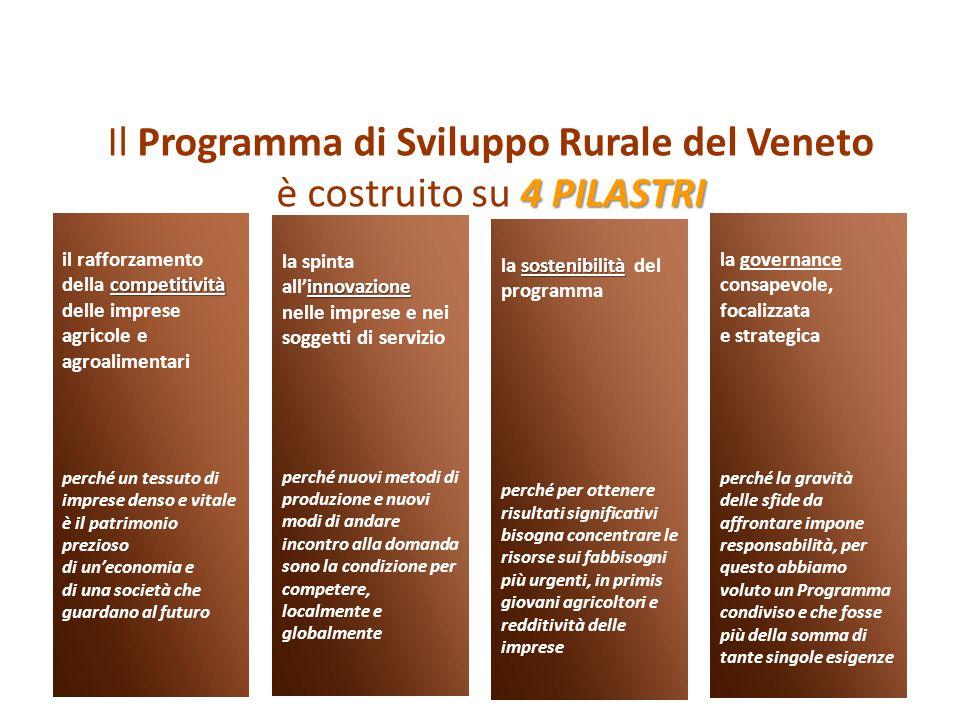 Il Programma di Sviluppo Rurale del Veneto 4 PILASTRI è costruito su 4 PILASTRI la governance consapevole, focalizzata e strategica perché la gravità