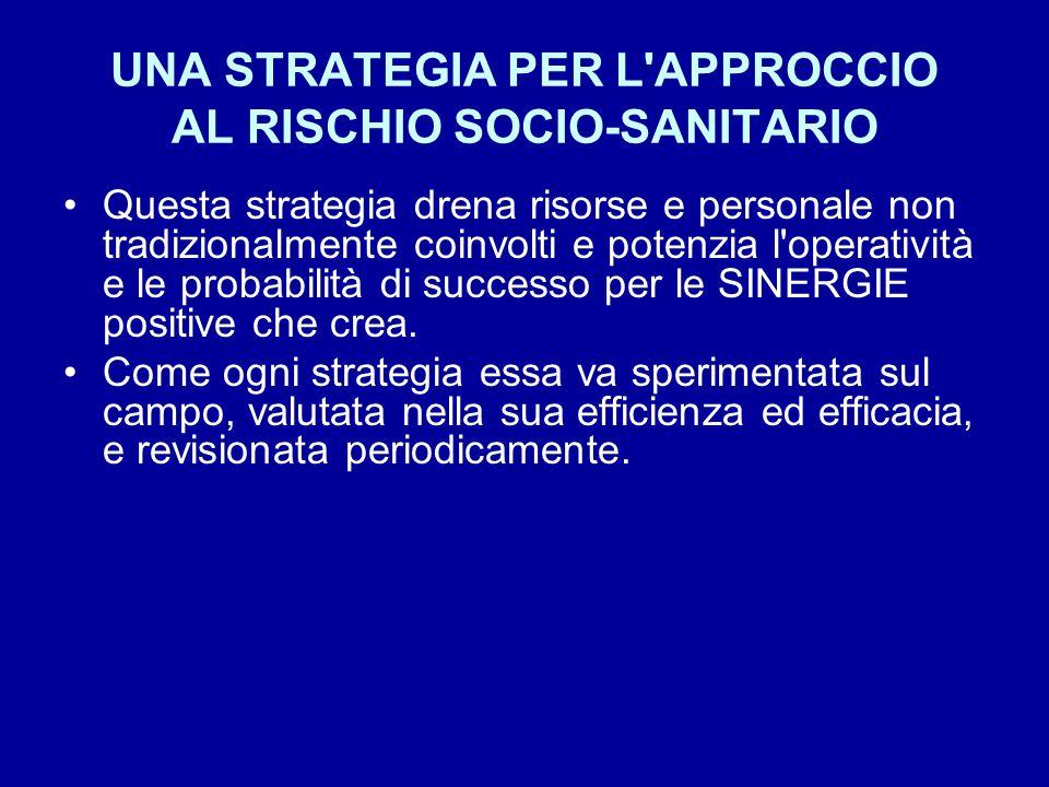 UNA STRATEGIA PER L APPROCCIO AL RISCHIO SOCIO-SANITARIO Questa strategia drena risorse e personale non tradizionalmente coinvolti e potenzia l operatività e le probabilità di successo per le SINERGIE positive che crea.
