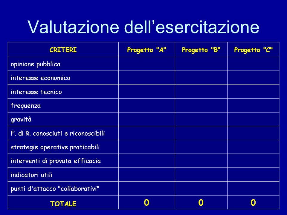 Valutazione dell'esercitazione CRITERIProgetto A Progetto B Progetto C opinione pubblica interesse economico interesse tecnico frequenza gravità F.