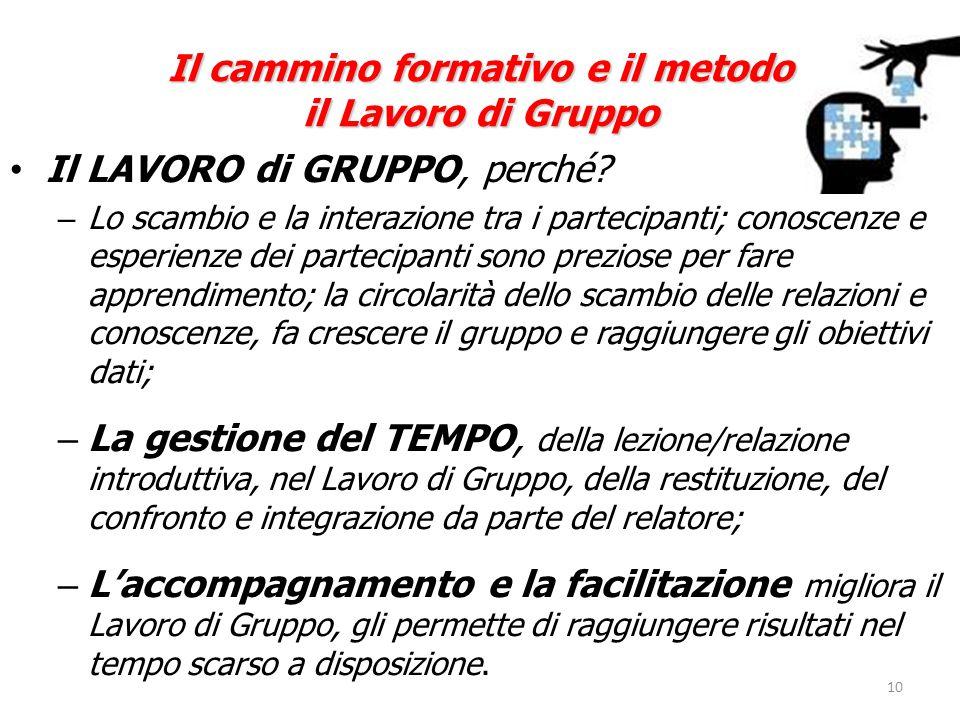 10 Il cammino formativo e il metodo il Lavoro di Gruppo Il LAVORO di GRUPPO, perché.