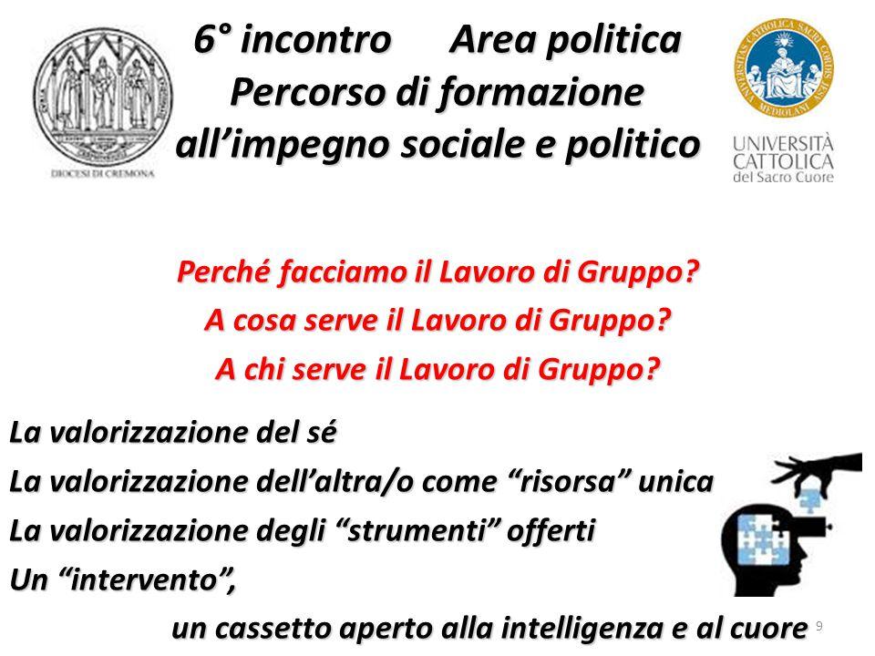 9 6° incontro Area politica Percorso di formazione all'impegno sociale e politico Perché facciamo il Lavoro di Gruppo.