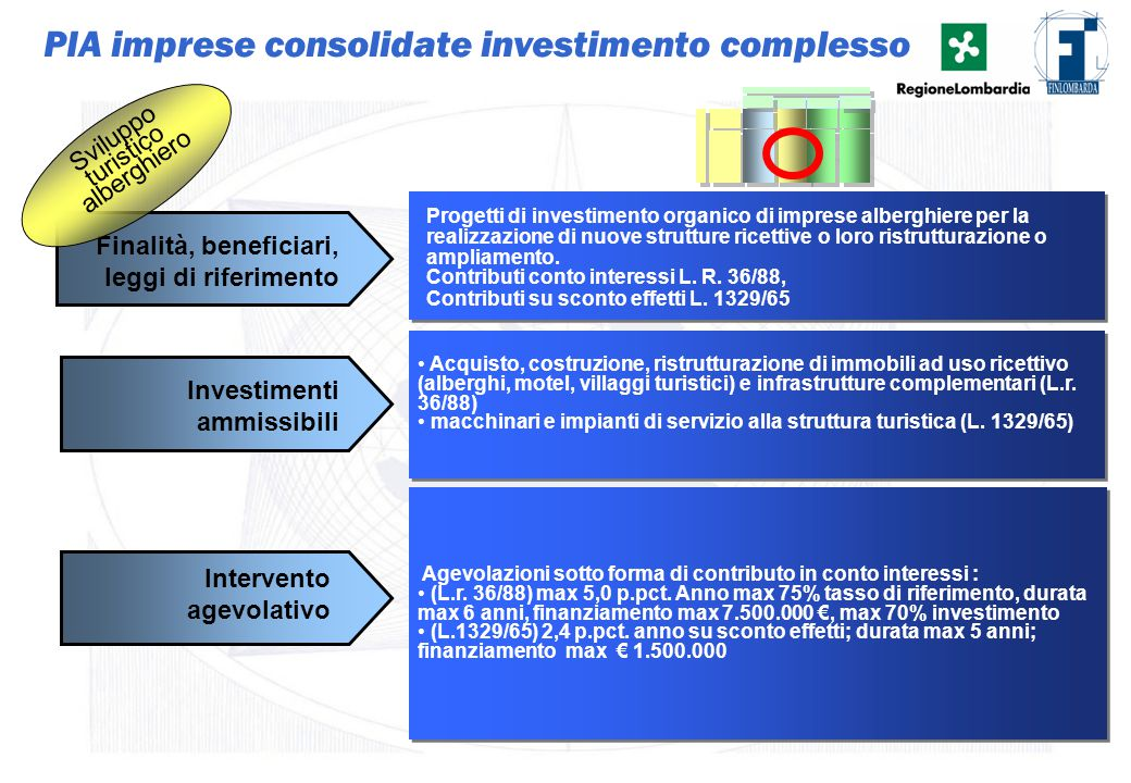 17 Progetti di investimento organico di imprese alberghiere per la realizzazione di nuove strutture ricettive o loro ristrutturazione o ampliamento. C