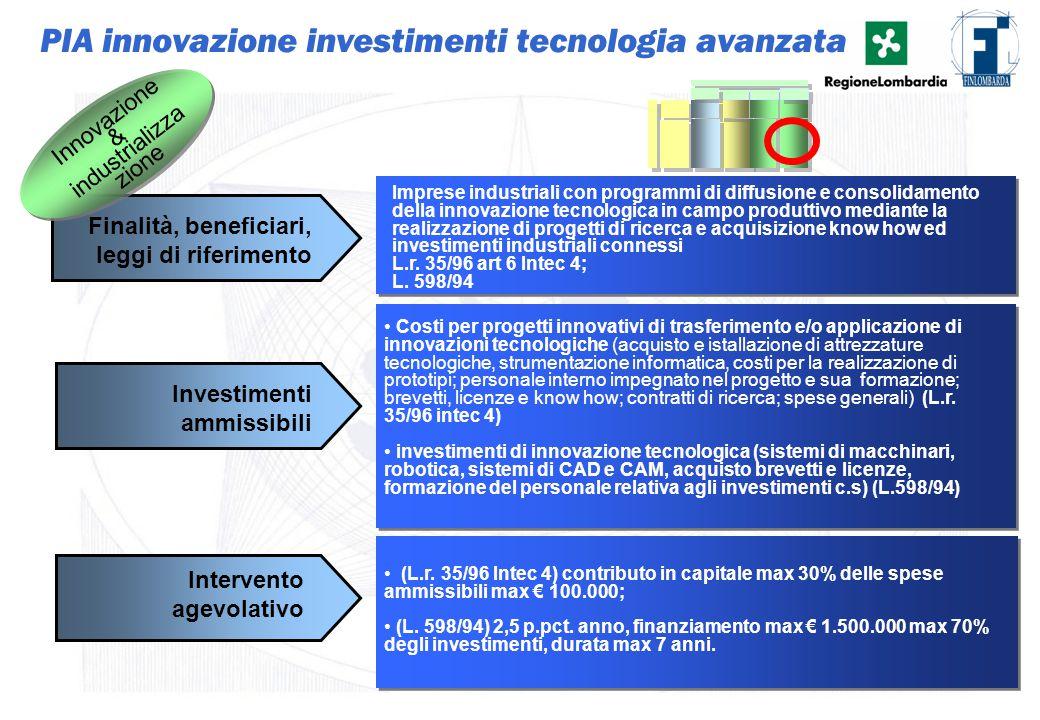 29 Imprese industriali con programmi di diffusione e consolidamento della innovazione tecnologica in campo produttivo mediante la realizzazione di pro