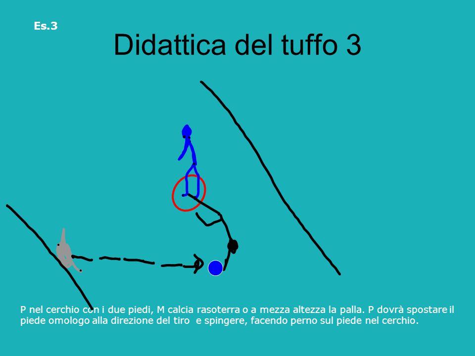 Didattica del tuffo 3 P nel cerchio con i due piedi, M calcia rasoterra o a mezza altezza la palla. P dovrà spostare il piede omologo alla direzione d