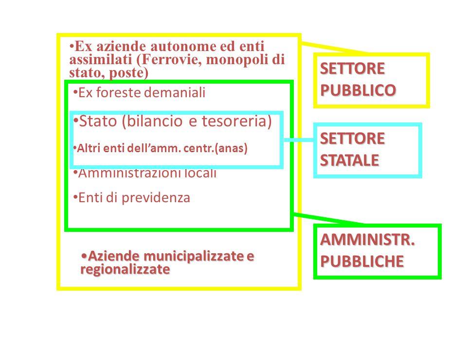 Ex foreste demaniali Stato (bilancio e tesoreria) Altri enti dell'amm. centr.(anas) Amministrazioni locali Enti di previdenza SETTORE PUBBLICO AMMINIS
