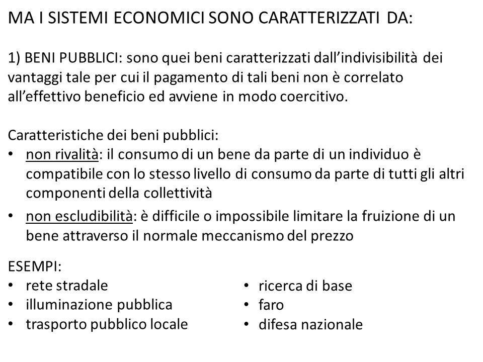 MA I SISTEMI ECONOMICI SONO CARATTERIZZATI DA: 1) BENI PUBBLICI: sono quei beni caratterizzati dall'indivisibilità dei vantaggi tale per cui il pagame