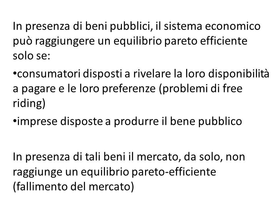 In presenza di beni pubblici, il sistema economico può raggiungere un equilibrio pareto efficiente solo se: consumatori disposti a rivelare la loro di