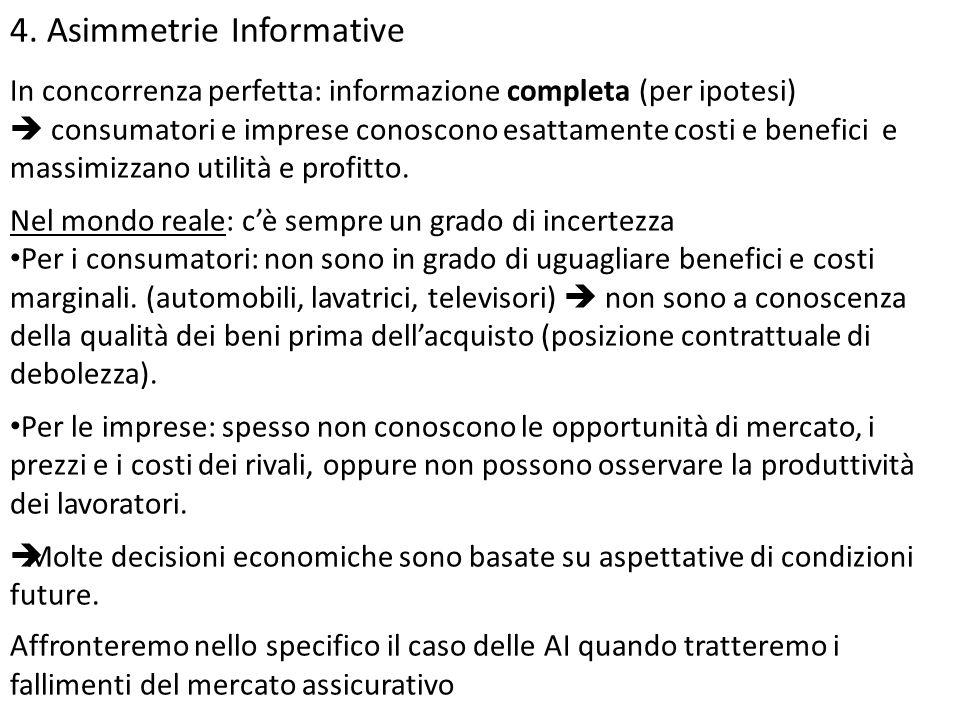 4. Asimmetrie Informative In concorrenza perfetta: informazione completa (per ipotesi)  consumatori e imprese conoscono esattamente costi e benefici