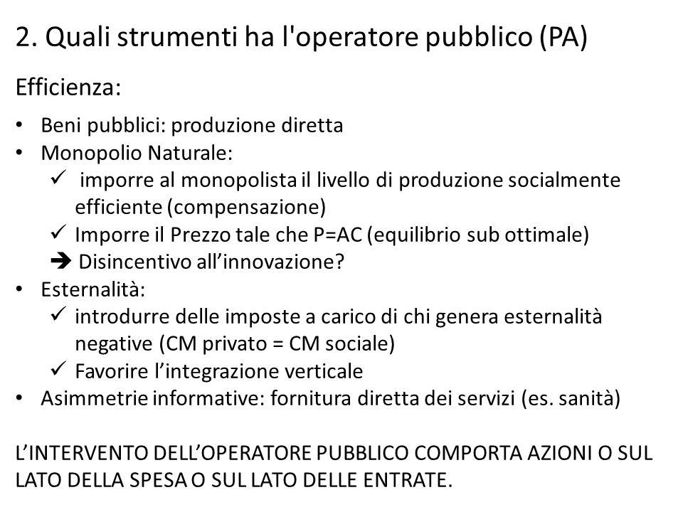 2. Quali strumenti ha l'operatore pubblico (PA) Efficienza: Beni pubblici: produzione diretta Monopolio Naturale: imporre al monopolista il livello di