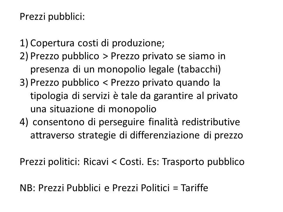 Prezzi pubblici: 1)Copertura costi di produzione; 2)Prezzo pubblico > Prezzo privato se siamo in presenza di un monopolio legale (tabacchi) 3)Prezzo p