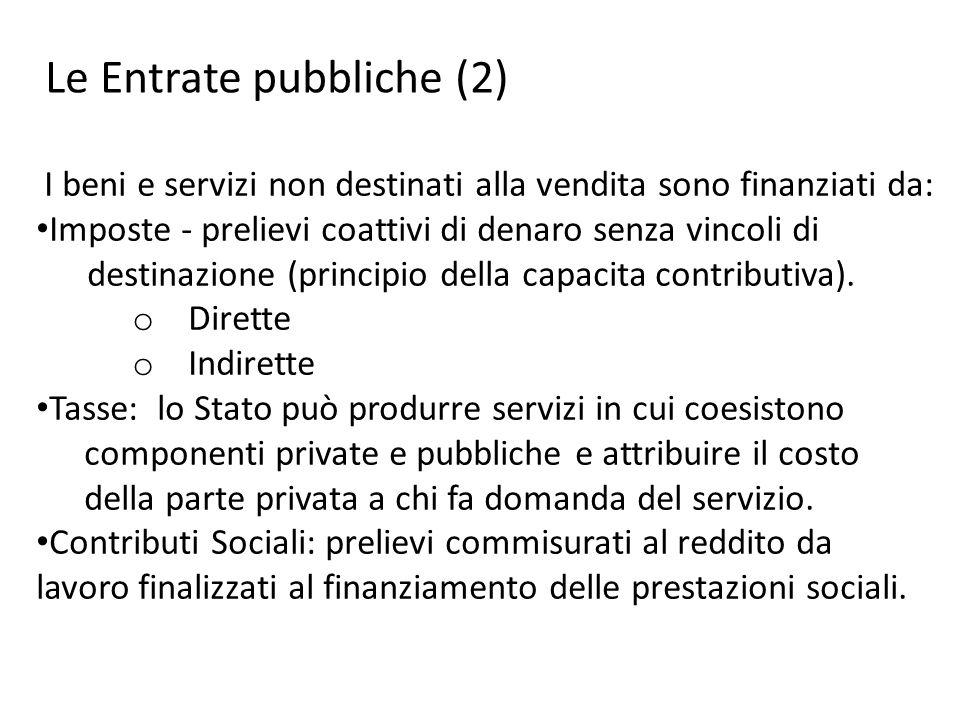 I beni e servizi non destinati alla vendita sono finanziati da: Imposte - prelievi coattivi di denaro senza vincoli di destinazione (principio della c