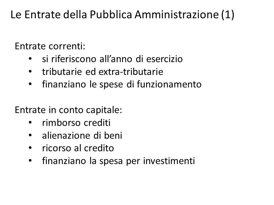Le Entrate della Pubblica Amministrazione (1) Entrate correnti: si riferiscono all'anno di esercizio tributarie ed extra-tributarie finanziano le spes