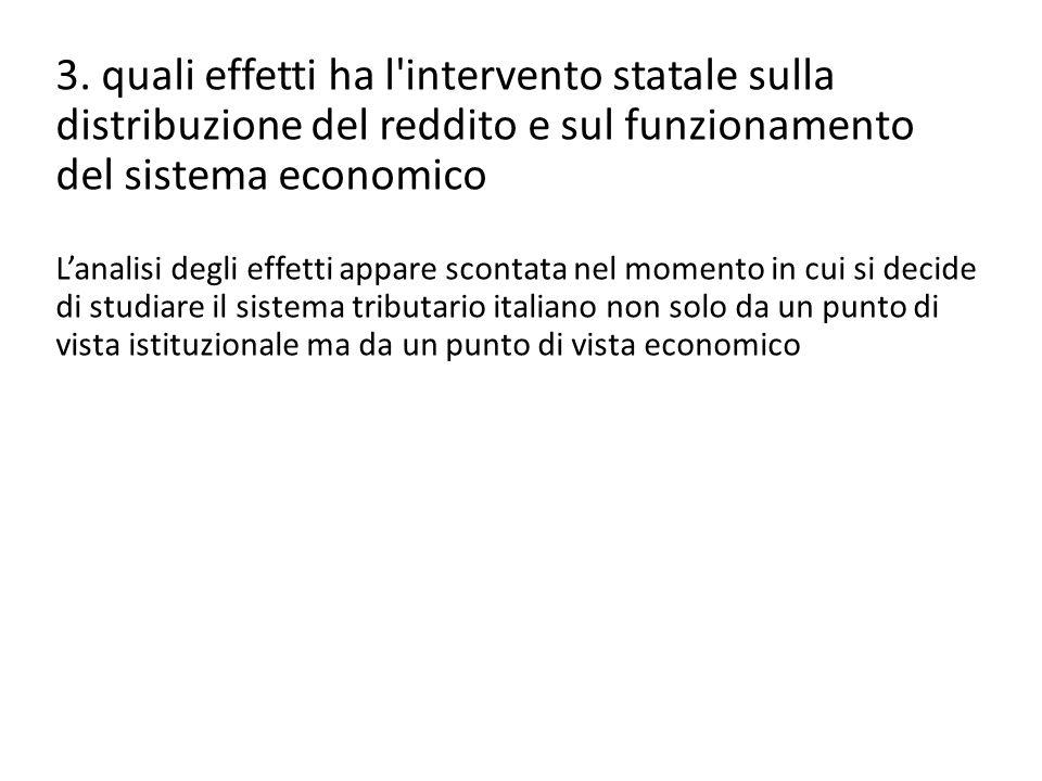 3. quali effetti ha l'intervento statale sulla distribuzione del reddito e sul funzionamento del sistema economico L'analisi degli effetti appare scon