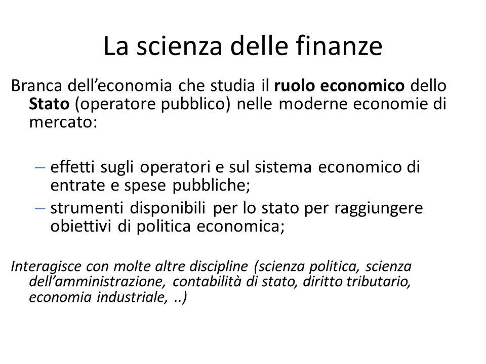 La scienza delle finanze Branca dell'economia che studia il ruolo economico dello Stato (operatore pubblico) nelle moderne economie di mercato: – effe