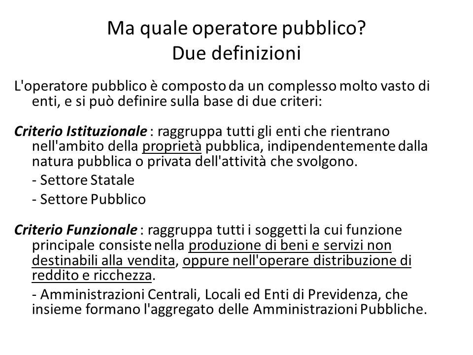 Ma quale operatore pubblico? Due definizioni L'operatore pubblico è composto da un complesso molto vasto di enti, e si può definire sulla base di due