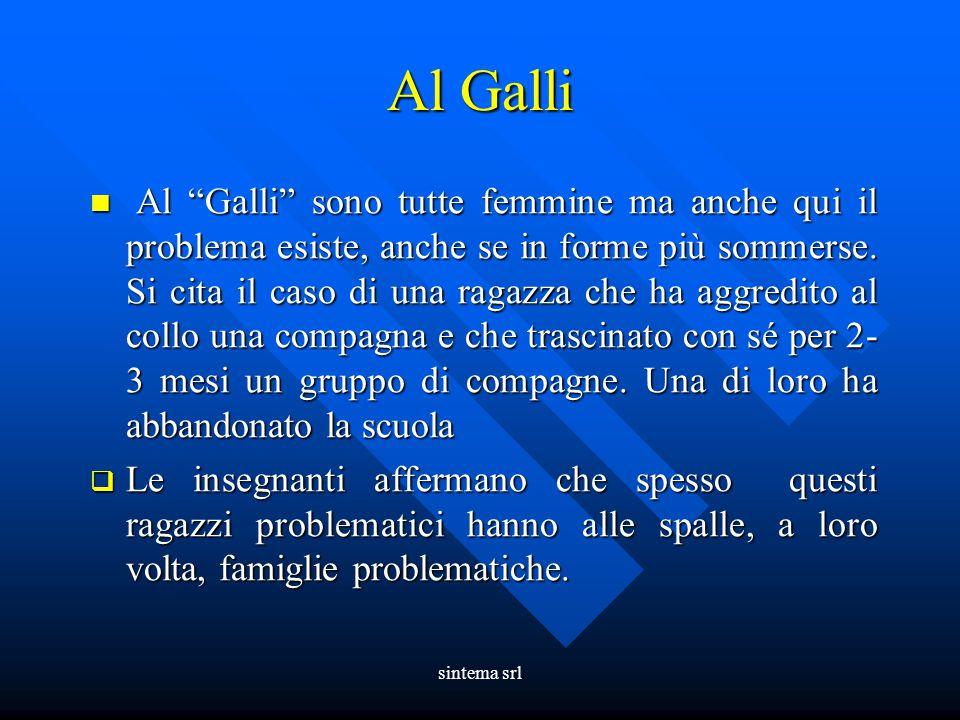 """sintema srl Al Galli Al """"Galli"""" sono tutte femmine ma anche qui il problema esiste, anche se in forme più sommerse. Si cita il caso di una ragazza che"""
