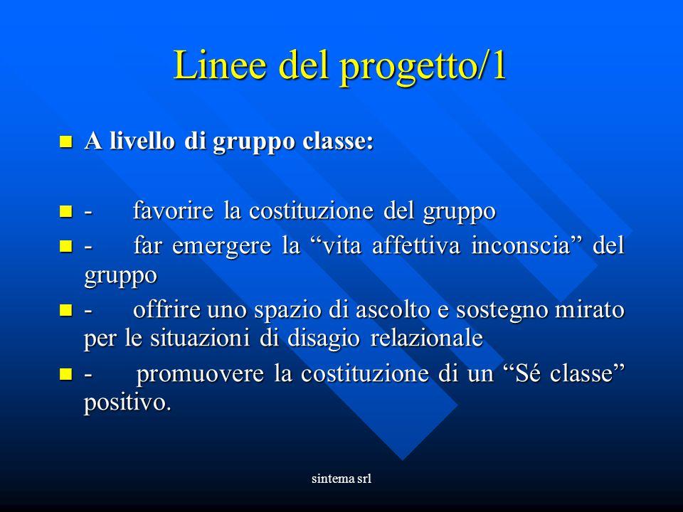 sintema srl Linee del progetto/1 A livello di gruppo classe: A livello di gruppo classe: - favorire la costituzione del gruppo - favorire la costituzi