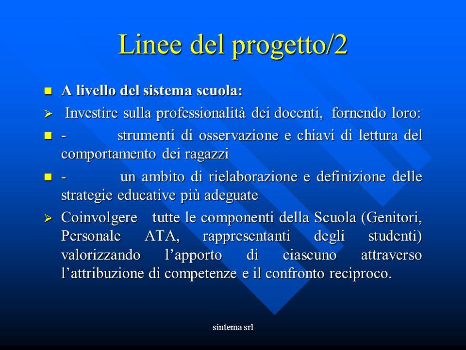 sintema srl Linee del progetto/2 A livello del sistema scuola: A livello del sistema scuola:  Investire sulla professionalità dei docenti, fornendo l