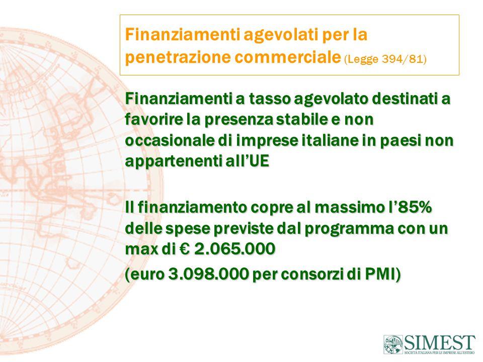 Finanziamenti agevolati per la penetrazione commerciale (Legge 394/81) Finanziamenti a tasso agevolato destinati a favorire la presenza stabile e non occasionale di imprese italiane in paesi non appartenenti all'UE Il finanziamento copre al massimo l'85% delle spese previste dal programma con un max di € 2.065.000 (euro 3.098.000 per consorzi di PMI)