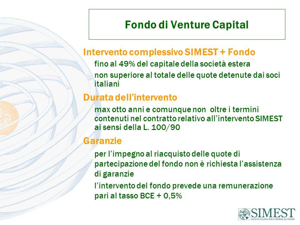 Fondo di Venture Capital Intervento complessivo SIMEST + Fondo fino al 49% del capitale della società estera non superiore al totale delle quote detenute dai soci italiani Durata dell'intervento max otto anni e comunque non oltre i termini contenuti nel contratto relativo all'intervento SIMEST ai sensi della L.