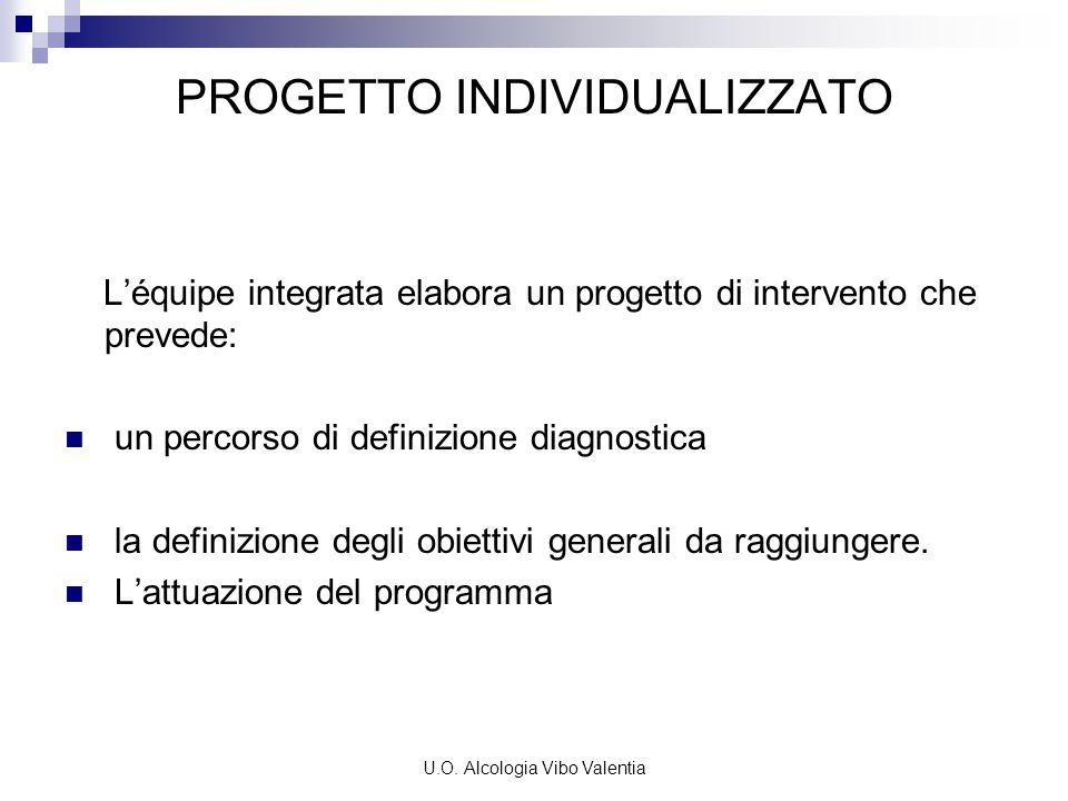 U.O. Alcologia Vibo Valentia PROGETTO INDIVIDUALIZZATO L'équipe integrata elabora un progetto di intervento che prevede: un percorso di definizione di