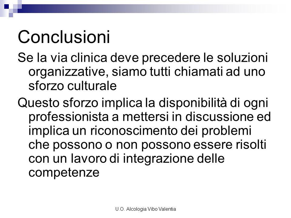 U.O. Alcologia Vibo Valentia Conclusioni Se la via clinica deve precedere le soluzioni organizzative, siamo tutti chiamati ad uno sforzo culturale Que