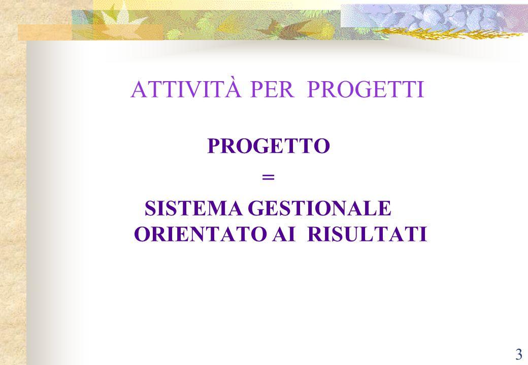 3 ATTIVITÀ PER PROGETTI PROGETTO = SISTEMA GESTIONALE ORIENTATO AI RISULTATI