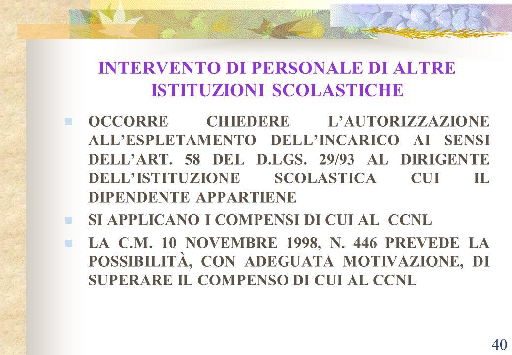 39 INTERVENTO DI PERSONALE ESTERNO ê DOVRÀ ESSERE STIPULATO CONTRATTO D'OPERA INTELLETTUALE