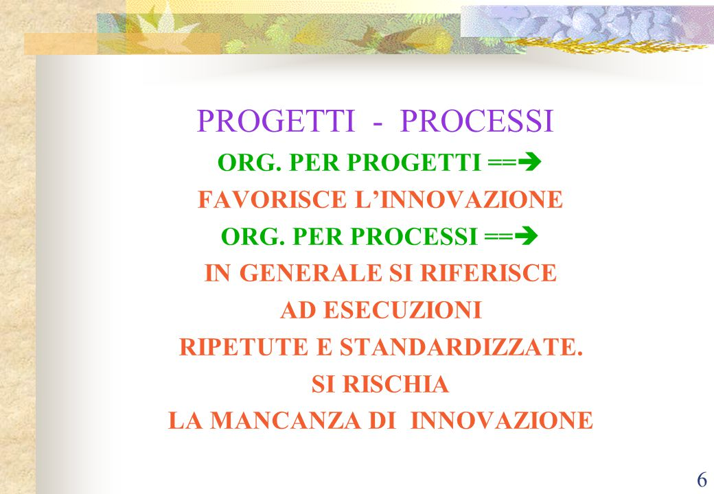 6 PROGETTI - PROCESSI ORG.PER PROGETTI ==  FAVORISCE L'INNOVAZIONE ORG.