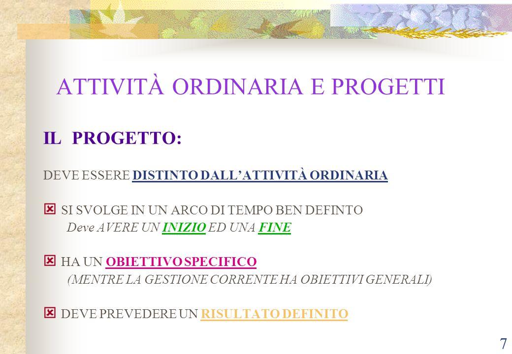 7 ATTIVITÀ ORDINARIA E PROGETTI IL PROGETTO: DEVE ESSERE DISTINTO DALL'ATTIVITÀ ORDINARIA ý SI SVOLGE IN UN ARCO DI TEMPO BEN DEFINTO Deve AVERE UN INIZIO ED UNA FINE ý HA UN OBIETTIVO SPECIFICO (MENTRE LA GESTIONE CORRENTE HA OBIETTIVI GENERALI) ý DEVE PREVEDERE UN RISULTATO DEFINITO