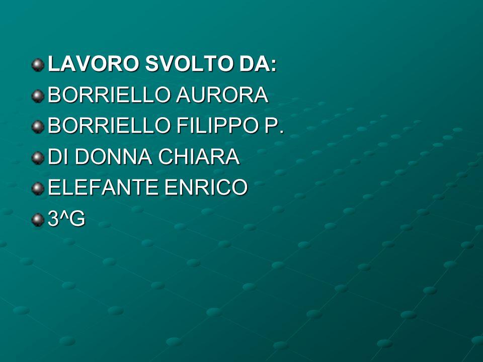 LAVORO SVOLTO DA: BORRIELLO AURORA BORRIELLO FILIPPO P. DI DONNA CHIARA ELEFANTE ENRICO 3^G