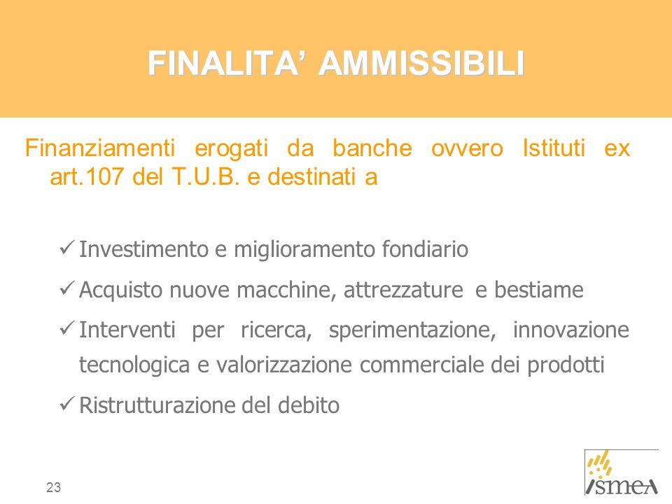 23 FINALITA' AMMISSIBILI Finanziamenti erogati da banche ovvero Istituti ex art.107 del T.U.B.