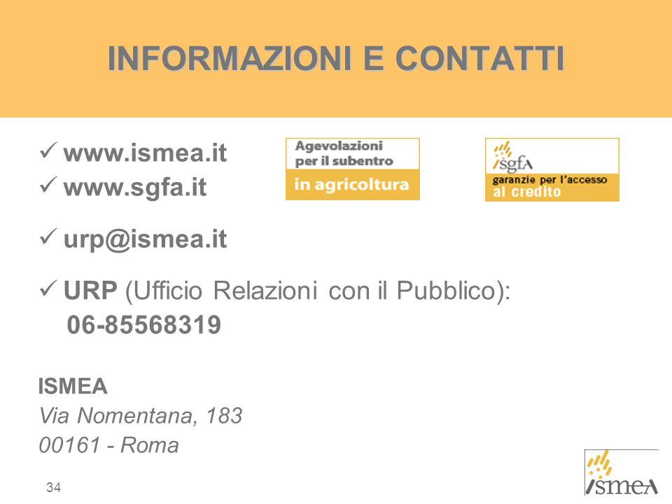 34 INFORMAZIONI E CONTATTI www.ismea.it www.sgfa.it urp@ismea.it URP (Ufficio Relazioni con il Pubblico): 06-85568319 ISMEA Via Nomentana, 183 00161 - Roma